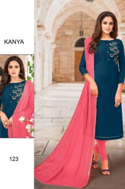 Blue Whale Color Silk Dress Material Code 123
