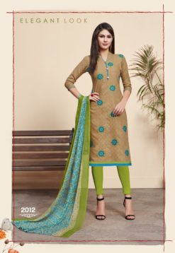 Brown Green Lakda Jacquard Dress Material 2009