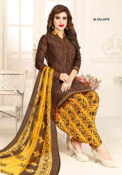 Brown Yellow Color Crape Dress Material 1070