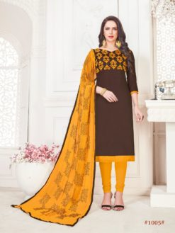 Brown Yellow Glace Cotton With Embroidery 1005