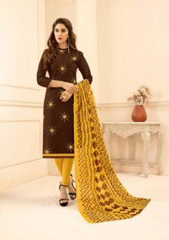 Brown Yellow Lakda Jacquard with Embroidery Dress Materail 50013