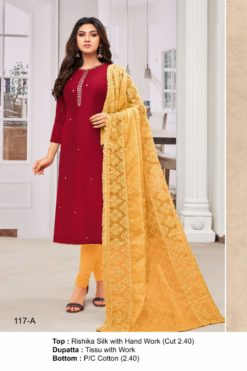 Burgandy Color Modal Dress Material Code 117-A