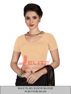 Butter Cream Half Plain Sleeves Wholwsale Readymade Blouse