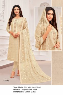 Calico White Color Modal Dress Material Code 118-E