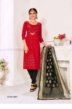 Cardinal Red Black Cotton Flex Handloom Cotton Dress Material 1007