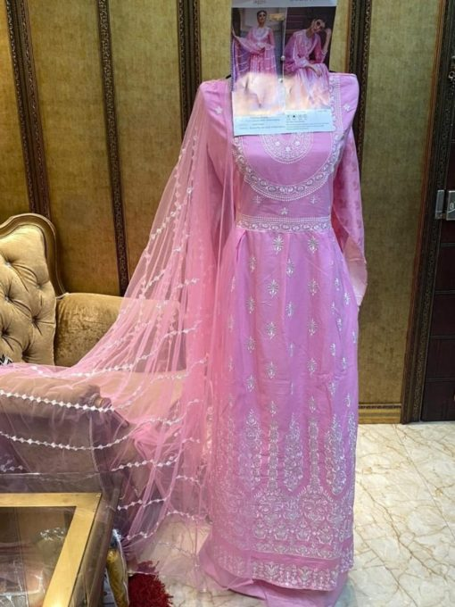 Carismma Pink Color Pure Cotton Dress Material Code 622