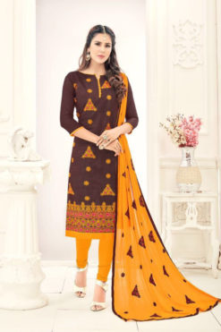 Coffee Brown Yellow Chanderi With Embroidery Dress Material 1003