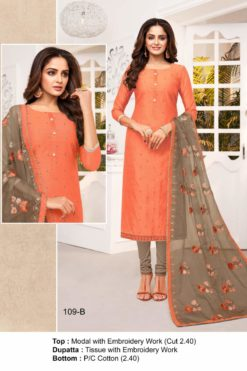 Coral Color Modal Dress Material Code 109-B