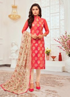 Coral Red Color Jacquard Dress Material Code Tina 18