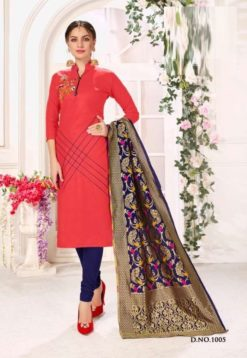 Coral Red Navy Blue Cotton Flex Handloom Cotton Dress Material 1005