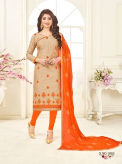 Cream Orange Bombay Jacquard With Work Dress Material 1003
