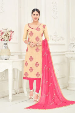 Cream Peach Chanderi With Embroidery Dress Material 1009