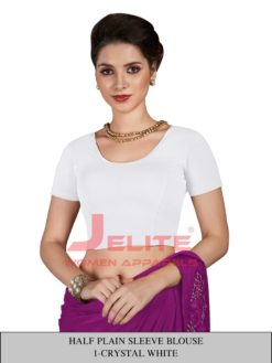 Crystel White Half Plain Sleeves Readymade Blouse Wholesale