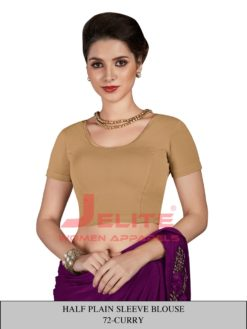 Curry Half Plain Sleeves Readymade Blouse Wholesale