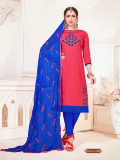 Dark Peach Blue Glace Cotton With Embroidery Dress Material 1007