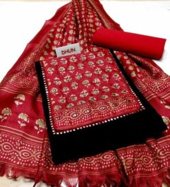Dhun Black Red Combo Dress Material