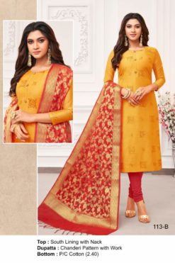 Fire Bush Yellow Color Modal Dress Material Code 113-B