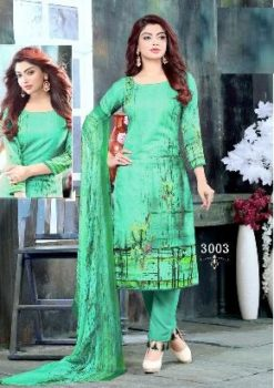 Forest Green Color Pure Cotton Dress Material Code 3003