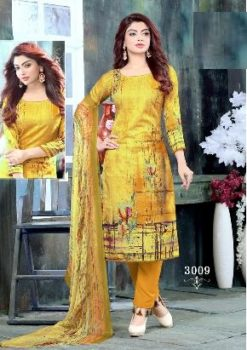 Fuel Yellow Color Pure Cotton Dress Material Code 3009