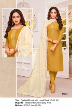 Golden Grass Color Modal Dress Material Code 110-B
