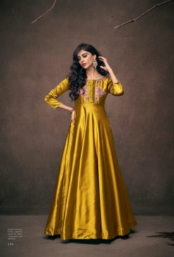 Golden Triva Satin With Embroidery Gown 191