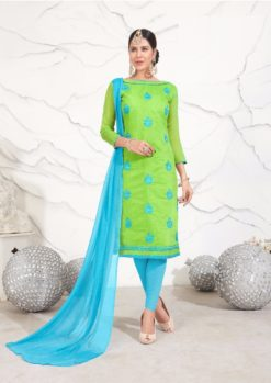 Green Blue Chanderi with Embroidery Kurti 1005