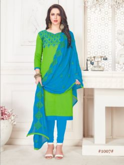 Green Blue Glace Cotton With Embroidery 1007