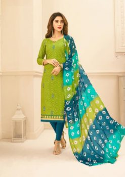 Green Blue Lakda Jacquard with Embroidery Dress Material 50010