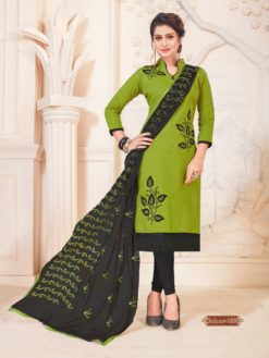 Green Prussian Blue Glace Cotton With Embroidery Dress Material 1009