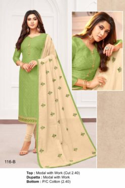 Green Smoke Color Modal Dress Material Code 116-B