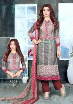 Grey Pink Color Pure Cotton Dress Material Code 3008