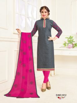 Grey Raani Bombay Jacquard With Work Dress Material 1012