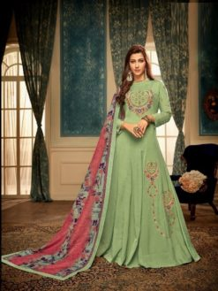 Green Heavy Maslin With Heavy Embroidery Gown 12006