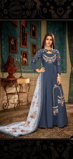 Blue Heavy Maslin With Heavy Embroidery Gown 12008