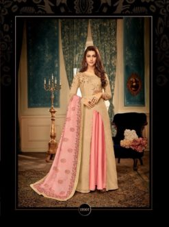 Cream Heavy Maslin With Heavy Embroidery Gown 12007