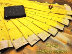 Yellow Semi Linen Mirror Work Saree With Blouse
