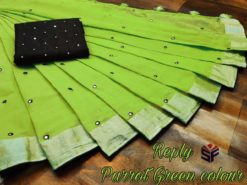 Parrot Green Semi Linen Mirror Work Saree With Blouse