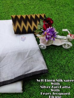 White With Brown Soft Linen Silk Saree With Silver Jari Patta