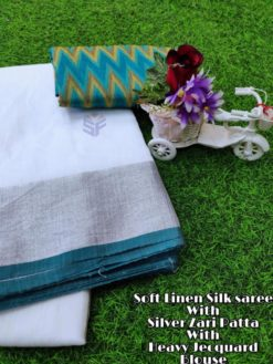 White With Green Soft Linen Silk Saree With Silver Jari Patta