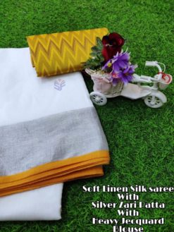 White With Yellow Soft Linen Silk Saree With Silver Jari Patta