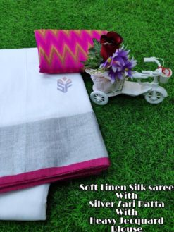 White With Pink Soft Linen Silk Saree With Silver Jari Patta