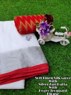 White With Red Soft Linen Silk Saree With Silver Jari Patta