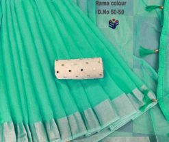 Rama Green Semi Linen Wholesale saree with Mirror work blouse
