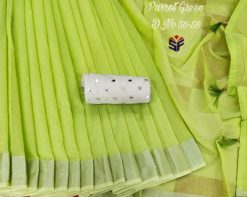 Parrot Green Semi Linen saree with Mirror work blouse