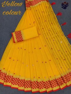Yellow Kota Cotton Supernet With Hand Work Mirror Saree