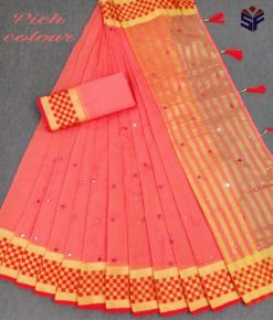 Peach Kota Cotton Supernet With Mirror Work Saree