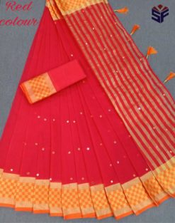Red Kota Cotton Supernet With Mirror Work Saree