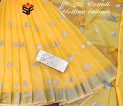 Yellow Semi Linen Embroidery Work Saree With Mirror Work Blouse