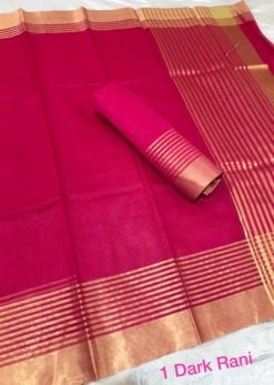 Dark Raani Kota Doriya Cotton Saree With Blouse