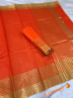 Orange Kota Doriya Cotton Saree With Blouse